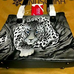 Anuschka Aferican Gray Leopard Sholder Shatchel